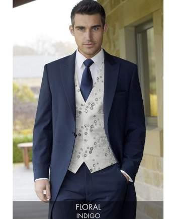 Heirloom Floral Mens Indigo Luxury 100% Wool Tweed Waistcoat - 34R - WAISTCOATS