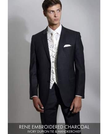 Heirloom Rene Mens Embroiered Charcoal Luxury 100% Wool Tweed Waistcoat - 34R - WAISTCOATS
