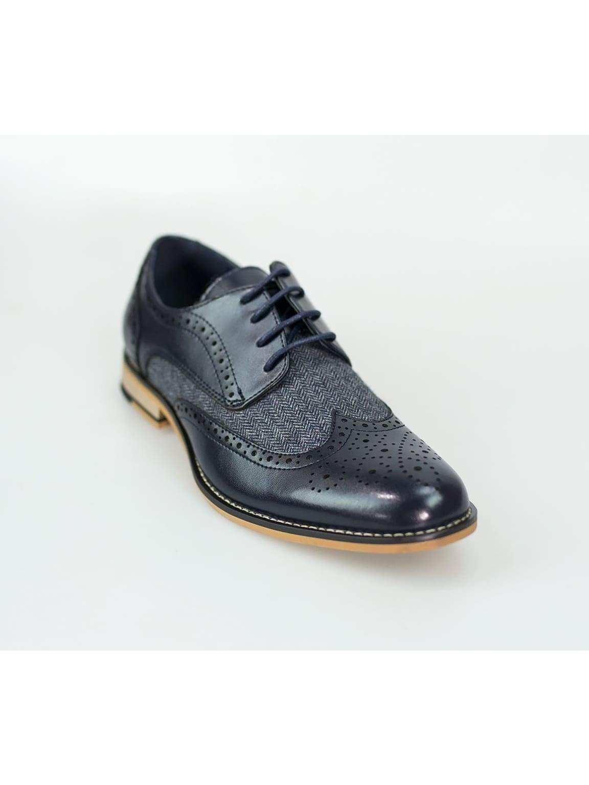 Horatio Navy Tweed Brogue Shoes - Shoes