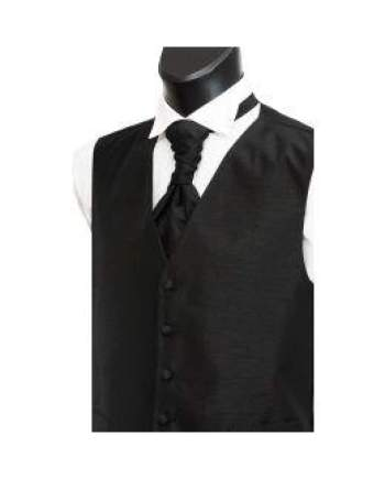 L A Smith Black Shantung Waistcoat - S - Suit & Tailoring