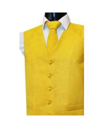 L A Smith Gold Suede Look Waistcoat - S - Suit & Tailoring