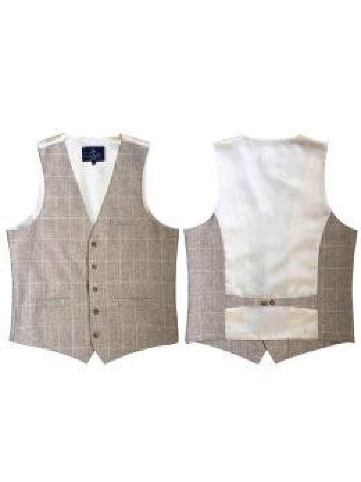 L A Smith Linen-Look Stone Modern Fit Waistcoat - Suit & Tailoring