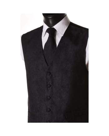 L A Smith Navy Suede Look Waistcoat - Suit & Tailoring