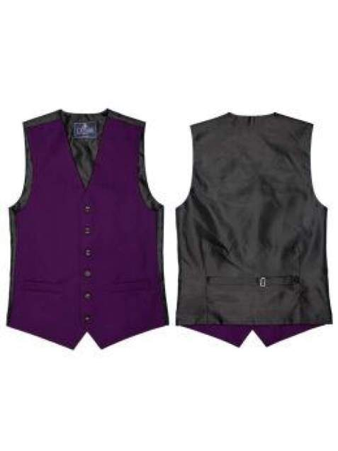 L A Smith Purple Plain Country Waistcoat - S - Suit & Tailoring