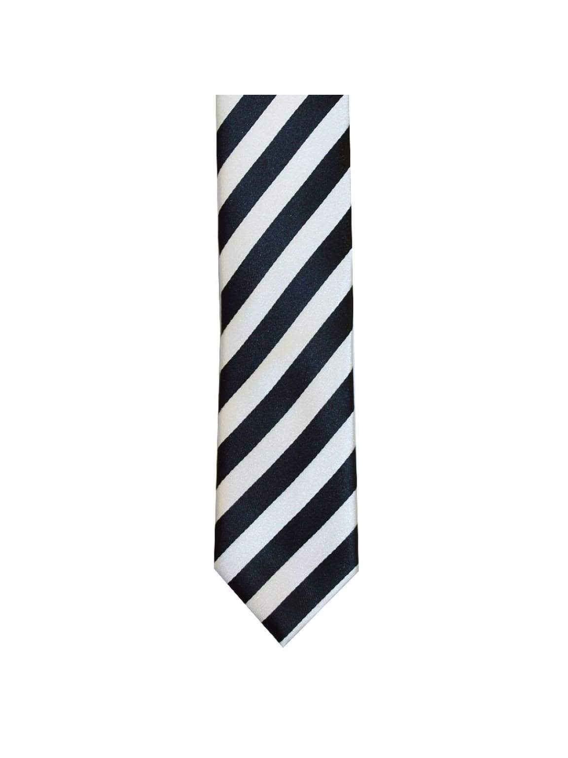 LA Smith Black And White Skinny Stripe Tie - Accessories