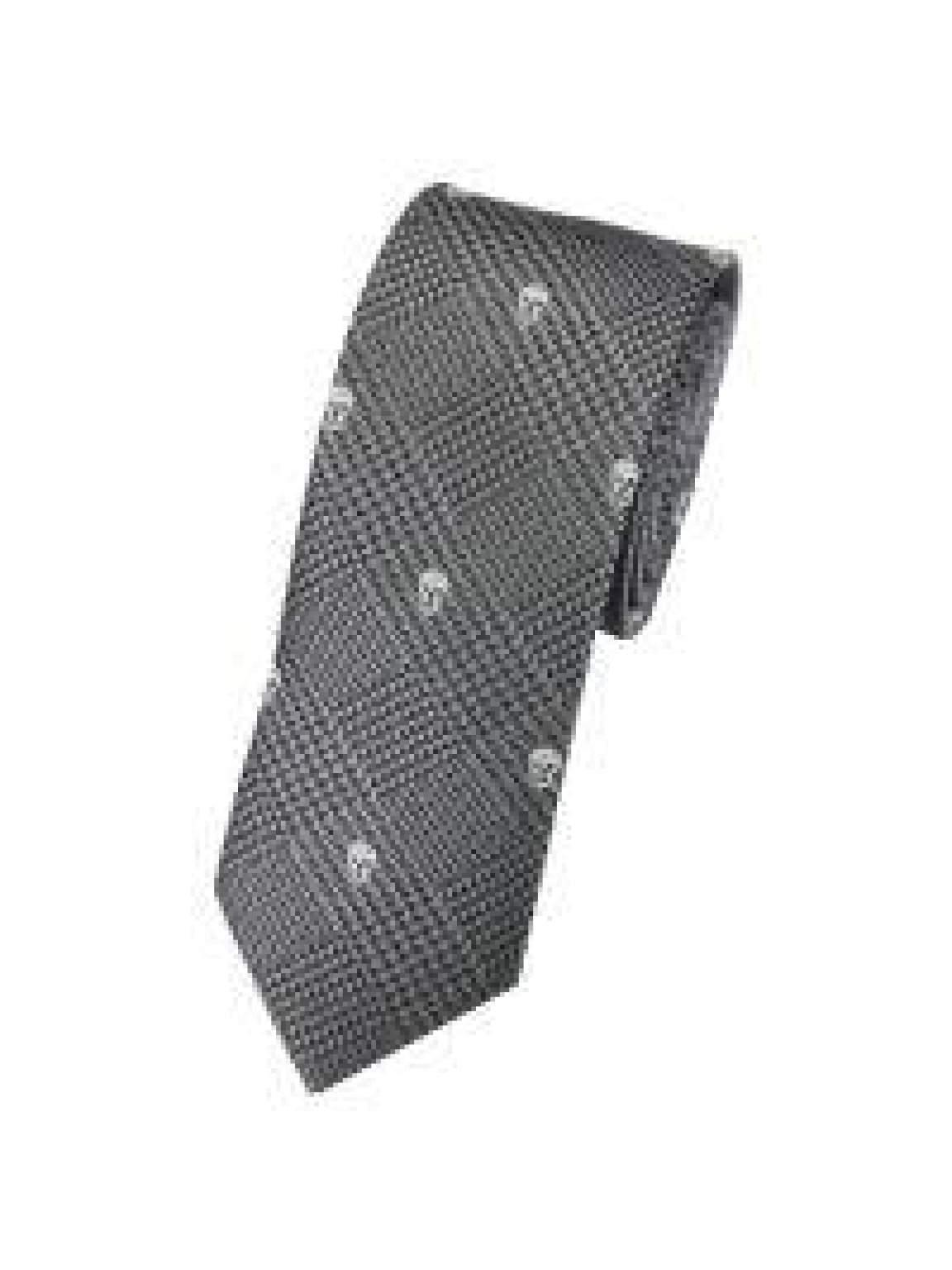LA Smith Grey Skinny Skull Tie - Accessories