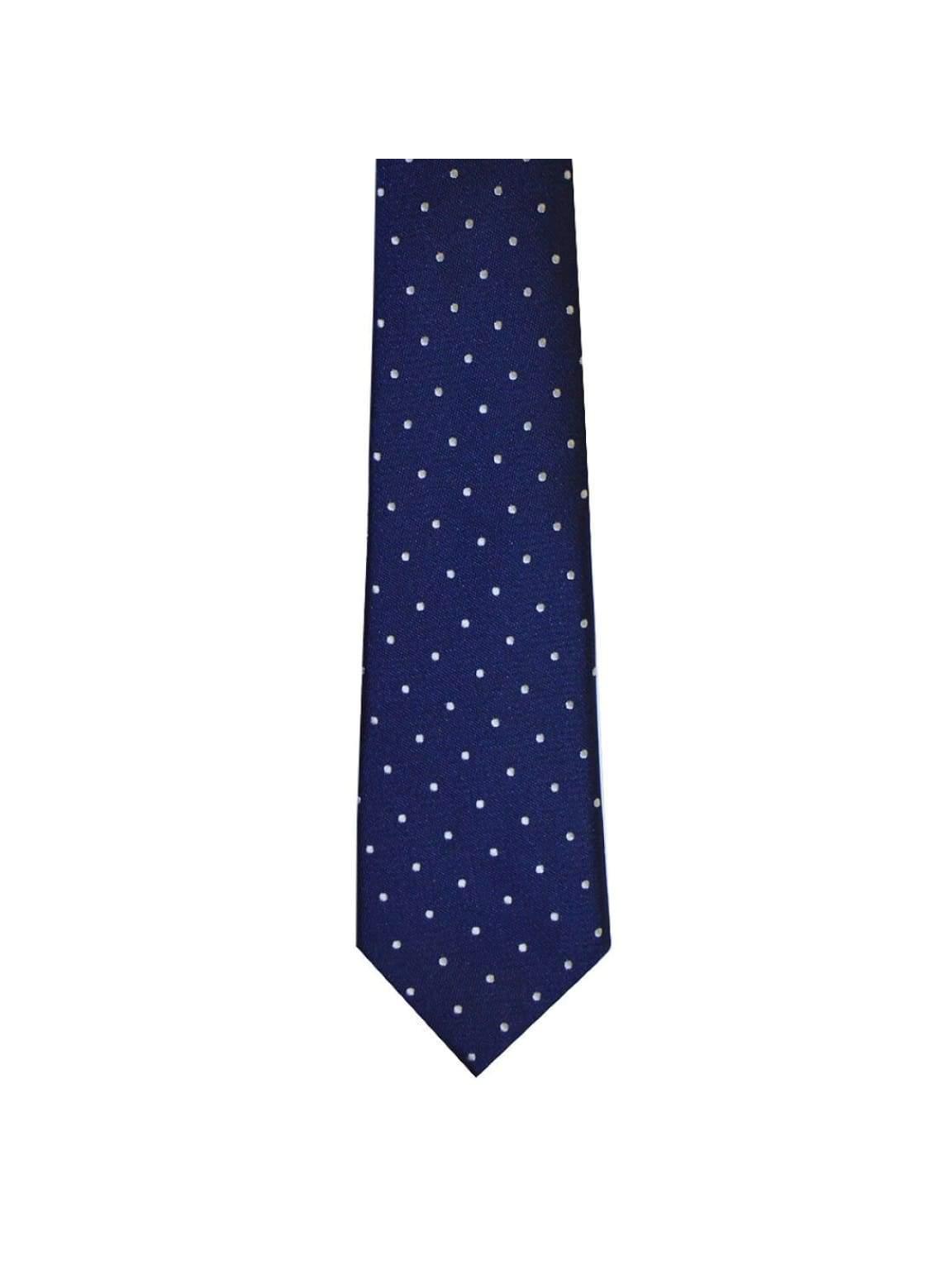 LA Smith Navy And White Skinny Polka Dot Tie - Accessories