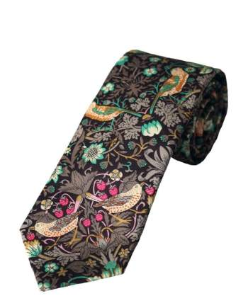Liberty Fabric Strawberry Thief Boys Brown Cotton Tie - Accessories