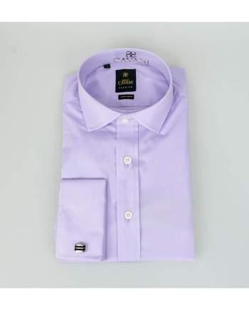 Mens Classic Collar Double Cuff Lilac Slim Fit Shirt by Cavani - UK 14.5 | EU 37 - Shirts