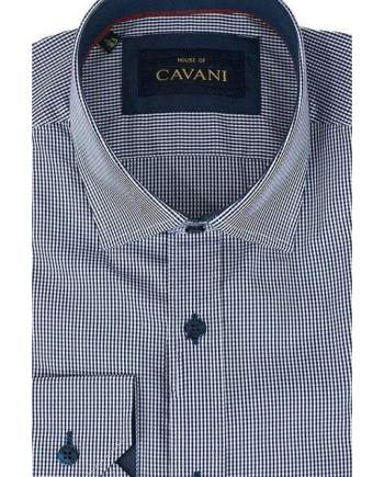 Mens Classic Collar Navy Gingham Slim Fit Shirt by Cavani - M - Shirts