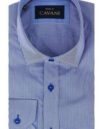 Mens Classic Collar Royal Blue Gingham Slim Fit Shirt by Cavani - Shirts