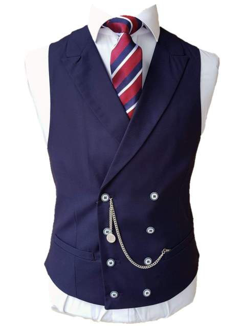Mens Double Breasted Waistcoat Peak Lapel Navy Lennox by Cavnani - Suit & Tailoring