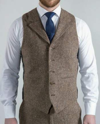 Torre Elton Tweed Mens Brown 100% Donegal Wool Tweed Waistcoat - 36R - Suit & Tailoring