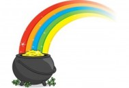 Financial Spreadsheets Pot of Gold at End pf Rainbow