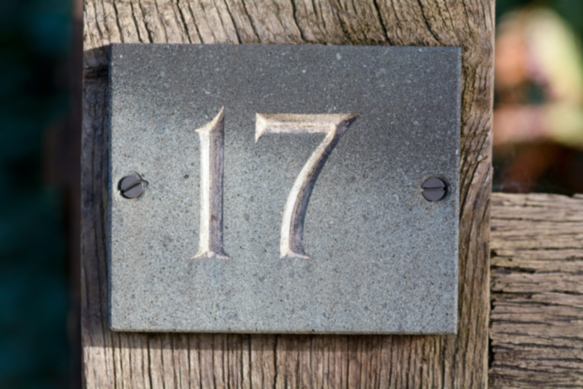 HouseNumber17sign