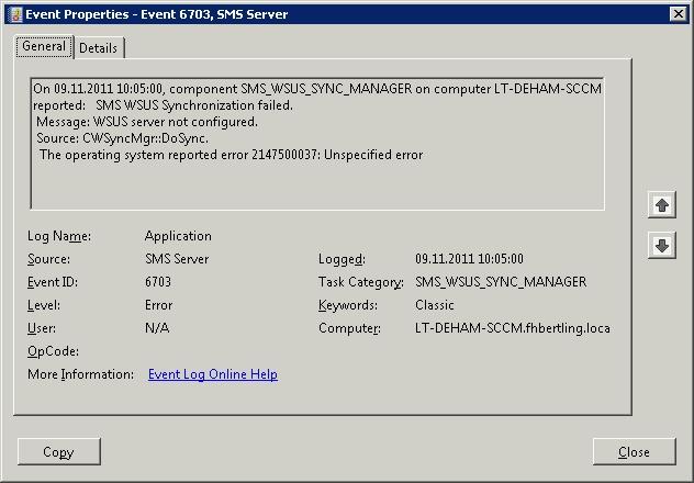 Fehlermeldung Application Log