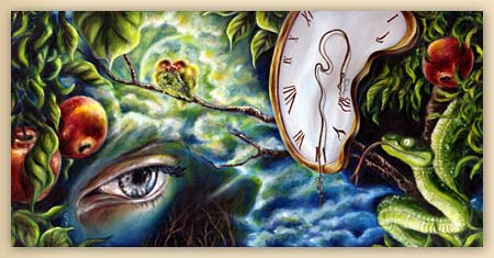 love, lovers painting, love bird painting, surrealism painting, fantasy art, melting clock, snake, eye painting, moon, apple tree, night, figurative oil painting