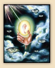 emotion, beautiful oil painting, art, surrealism,fine art, hiroko sakai, spiritual, inspiring painting, inspiring art, cool art,fetus, egg, heaven, eye, holly, light, clouds, hand sky, universe, rebirth, birth
