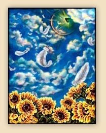 emotion, beautiful oil painting, art, surrealism,fine art, hiroko sakai, spiritual, inspiring painting, inspiring art, cool art, sky, angel, feather, door, rainbow, sun flower, fine day, fantasy painting, angel painting, love