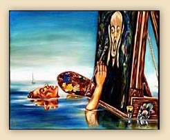 emotion, beautiful oil painting, art, surrealism,fine art, hiroko sakai, spiritual, inspiring painting, inspiring art, cool art, funny painting, munch, screem, ocean, floating, easel, boat, still painting, funny painting, humorous painting, artist, painting in ocean