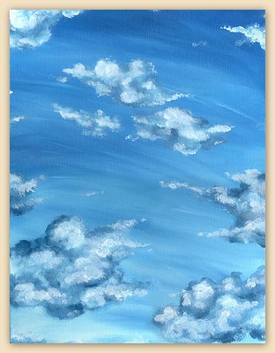 blue sky painting, clouds painting, sky painting, blue, oil painting, beautiful sky