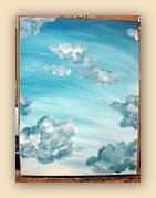 blue sky painting, clouds painting, sky painting, blue, oil painting, beautiful sky,painting process, sky painting