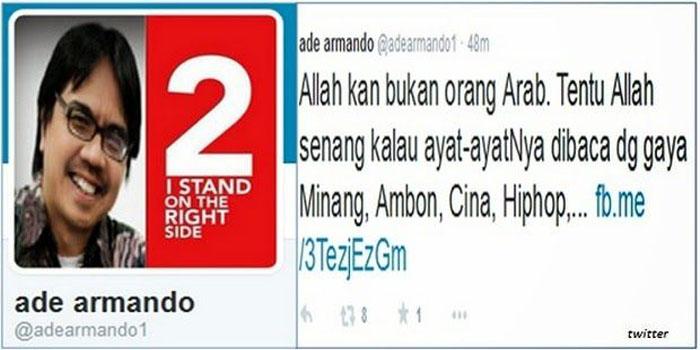 Hina Allah, Ade Armando dilaporkan Ke Polda Metro Jaya