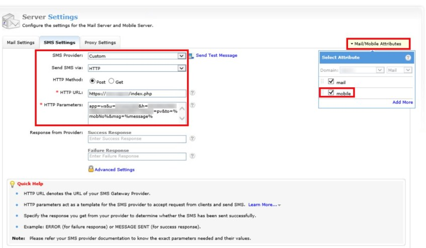 ManageEngine AD Self Service Plus Custom SMS Gateway - Press
