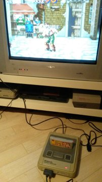 "This is the setup used. Japanese Super Famicom with a Philipps 32"" Matchline CRT"