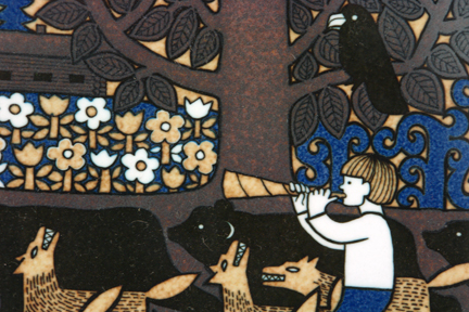 detail from a 1979 Arabia Kalevala date plate designed by Raija Uosikkinen