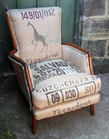 vintage armchair reupholstered by Eclectic Chair using recycled coffee sacks