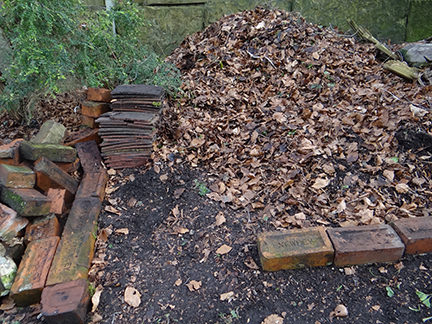leaf mould heap on our allotment