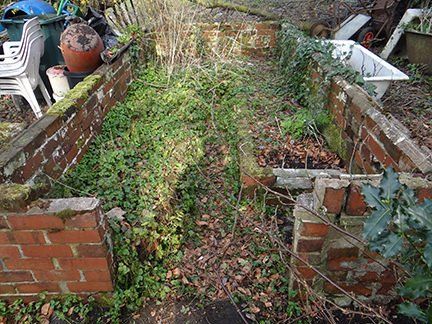 brick foundations of a derelict greenhouse on our allotment