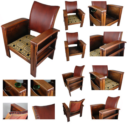 Different views of an antique art deco armchair