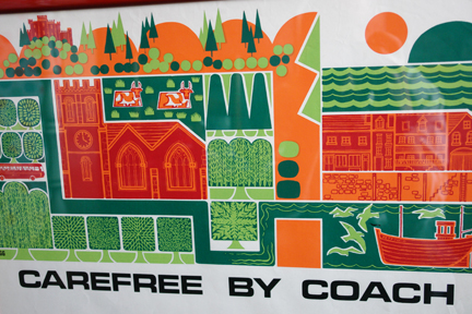 "detail of vintage framed ""carefree by coach"" travel poster designed by Biggs"
