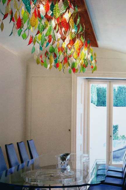 large, rectangular ceiling light with multi-coloured glass drops in the shapes of leaves