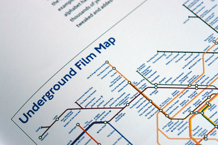 "page from ""London Underground Maps - Art, Design and Cartography"" by Louise Dobbin showing film titles as stops on the London Underground map"