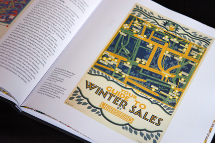 "page from ""London Underground Maps - Art, Design and Cartography"" by Louise Dobbin showing poster advertising Winter Sales"