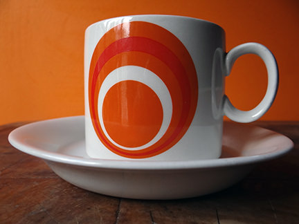 vintage orange Burleigh Orbit cup & saucer | H is for Home