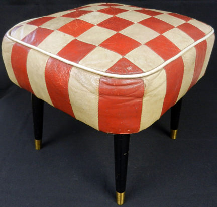 vintage red and white checked leather footstool being sold in support of Cornwall Hospice Care