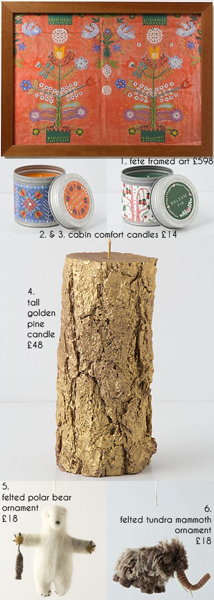 selection of festive Christmas items for sale on the Anthropologie website