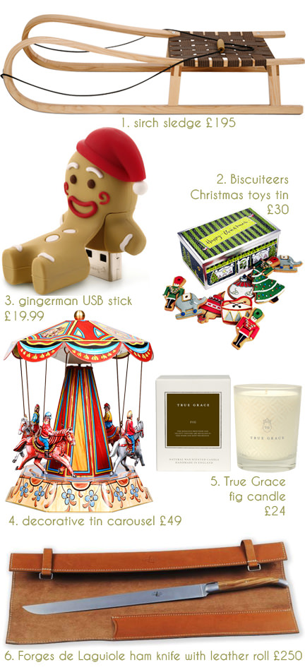 selection of festive Christmas items for sale at the Conran Shop