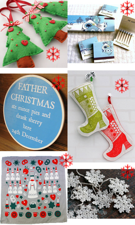 selection of vintage and handmade Christmas items from Etsy