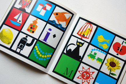 pages from a vintage craft booklet showing an alphabet illustration