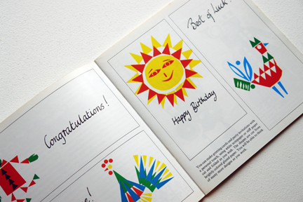 page from a vintage craft booklet showing greeting card illustrations