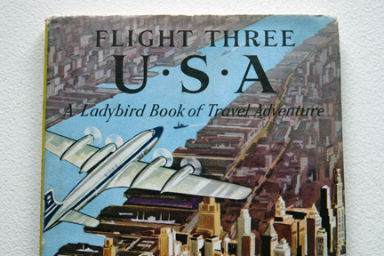 "detail from the cover of the vintage 1959 Ladybird book, ""Flight three, U.S.A. - A Ladybird Book of Travel Adventure"""
