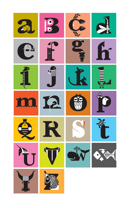 'The Animal Alphabet' digital print by Amanda Shufflebotham aka Graffikheart