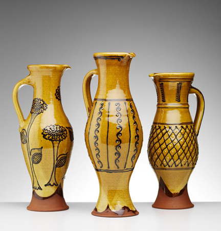 Trio of slipware baluster jugs handmade by Hannah McAndrew