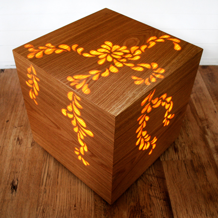illuminated wood veneered cube designed & made by Jane Blease