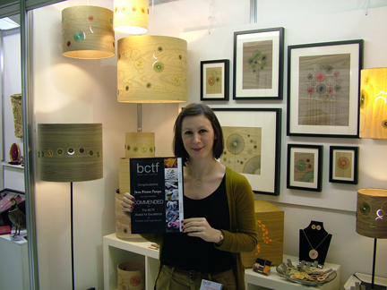 Jane Blease receiving her award at the British Craft Trade Fair 2011